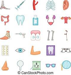Women health icons set, cartoon style
