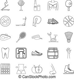 Women Health icons set, outline style