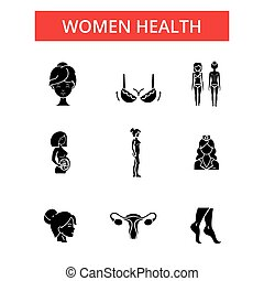 Women health illustration, thin line icons, linear flat signs, vector symbols, outline pictograms set, editable strokes