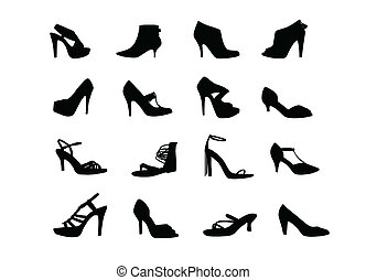 Women heel shoes silhouettes