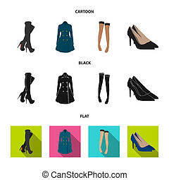 Women high boots, coats on buttons, stockings with a rubber band with a pattern, high-heeled shoes. Women clothing set collection icons in cartoon, black, flat style bitmap symbol stock illustration web.