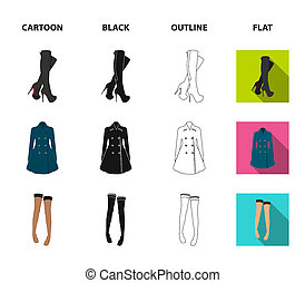 Women high boots, coats on buttons, stockings with a rubber band with a pattern, high heeled shoes. Women clothing set collection icons in cartoon, black, outline, flat style bitmap symbol stock illustration web.