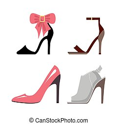 Women High-Heeled Shoes Isolated Illustrations Set