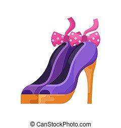 Women High Heels Bow Shoes in Flat