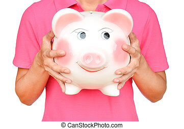 women hold Pink piggy bank