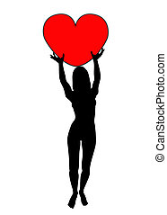 Women Holding Heart - Silhouetted women holding a love heart...