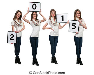 Women Holding New Years Signs - Beautiful young quadruplet ...