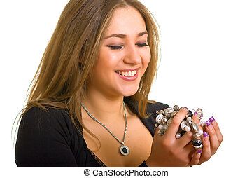 women holds in hands a bead