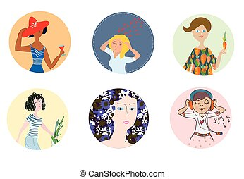 Women icons set with different mood and occupations - funny cartoons