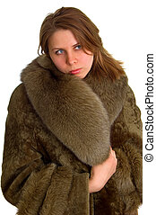 women in a fur coat