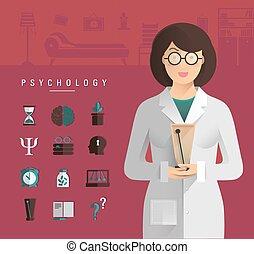 Women in a white coat psychologist.
