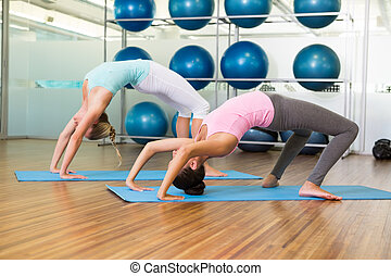 Women in crab pose in fitness studio