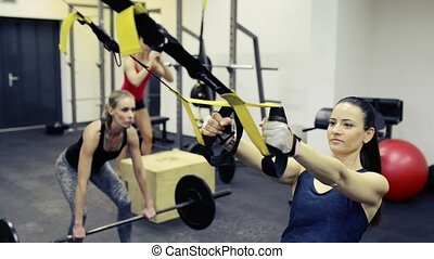 Women in crossfit gym working out with various equipment.