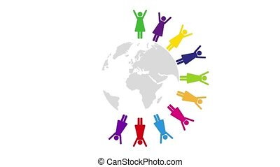 women in different colors around the world pictogram...