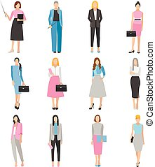 Women in elegant office clothes.