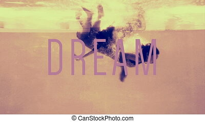 Women in evening gowns diving into pool with dream text in...