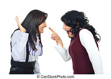 Women in funny confrontation - Two women having a funny...