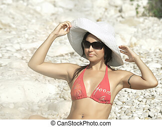 Women in Italy style at the beach
