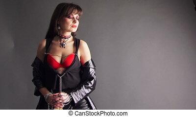 Women in leather dress