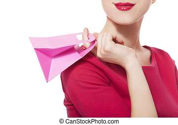 Women in red dress with little shopping bags