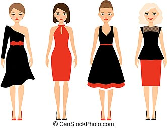 Women in retro dresses on white background. Vector icons...