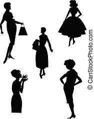 retro fashions - women in retro fashions over white in...