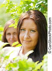women in spring  garden