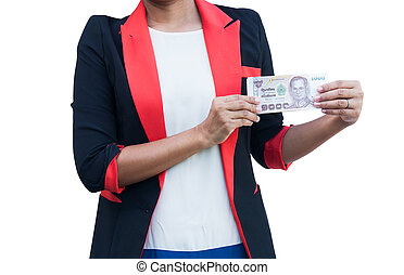 women in suit hand hold thai money, isolate