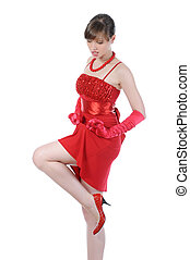 women in the red dress