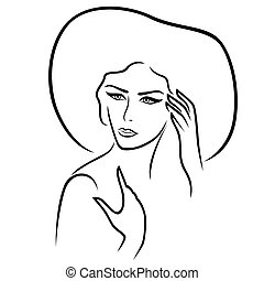 Women in the wide-brimmed hat - Beautiful serious young lady...