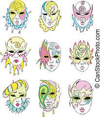 Women in Venetian carnival masks. Set of vector...