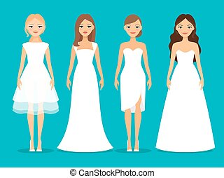 Women in wedding dresses on blue background. Beautiful white...