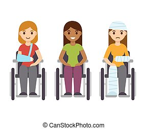 Young women in wheelchairs set, cartoon vector illustration. Injury and disability concept, rehabilitation from accident.
