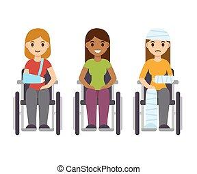 Women in wheelchairs set - Young women in wheelchairs set,...