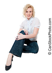 Women in white blouse and jeans isolated on white background
