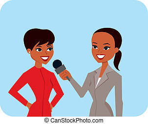 Cartoon image of two women in an interview