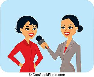 Women Interviewing - cartoon of women in interview.