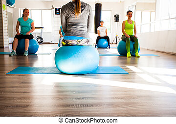 Women involved in Pilates