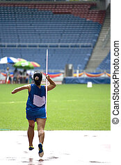 Women Javelin Throw for Disabled - A participant in a...