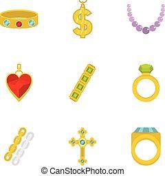 Women jewelry icon set, flat style