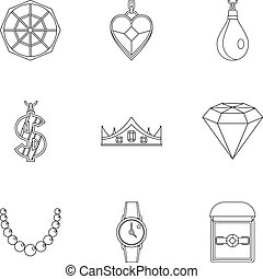 Women jewelry icon set, outline style