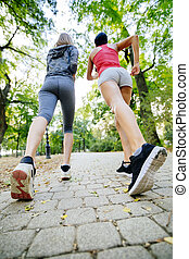 Women jogging in park