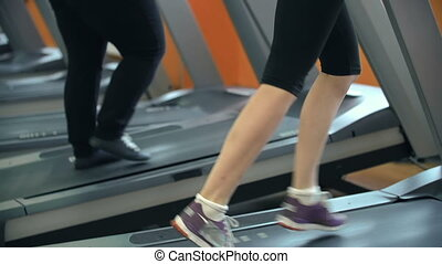 Tilt up the two women jogging in gym