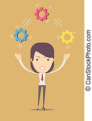 Women juggling with cog wheels. - Vector illustration of a...
