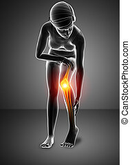 Women Knee joint pain - 3d Illustration of Women Knee pain