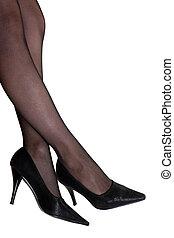 Young women beauty leg pantyhose and shoe