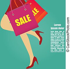 Women Legs With High Heels Running With Shopping bags, Business Concepts
