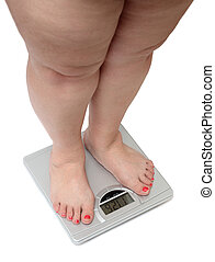 women legs with overweight standing on bathroom scales