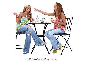 Women Lunch Friends - Two beautiful young woman having lunch...