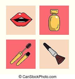 Women make up icons set